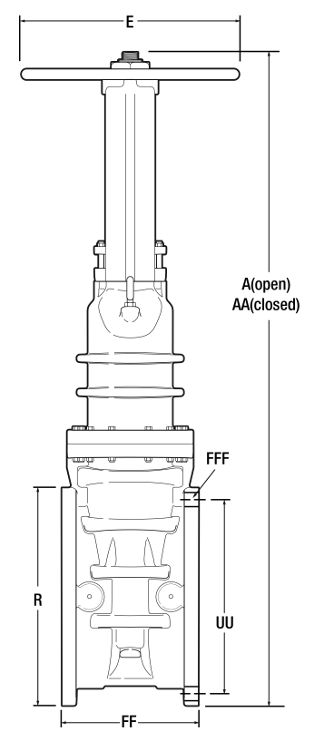 OS&Y RESILIENT WEDGE GATE VALVE WITH FLANGED ENDS 14-24